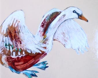 EMERY original painting 'peace dove calls swan for back up'  folk  outsider expressionism swan volunteers rally