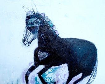 EMERY original painting 'horse harnesses her energy' outsider folk expressionism