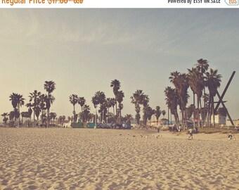 SALE Venice photography, beach photo, California seaside, Venice Beach, palm trees, retro, blue yellow, west coast, travel print, beach deco