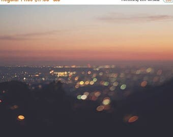 SALE LA skyline photo, Los Angeles sunset print, apartment decor, baby nursery art, girls room decor, bokeh cityscape wall art, pink, orange