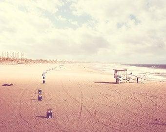beach photography, summer decor, Santa Monica California photo sand lifeguard stand, retro tones, blue sky toffee brown, LA vacation print