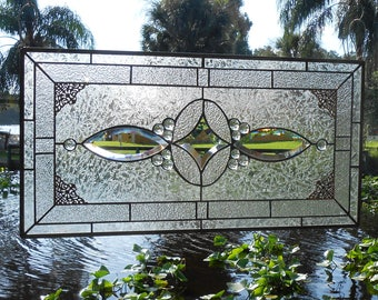 Traditional Vintage Look Bevel and Stained Glass Panel, Antique Home Decor Window Transom, Stained Glass Window Panel, Handmade Glass Art