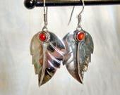 Coral Leaf Earrings, Native American, Sterling Silver, Dangle Earrings, Silver Leaves, Handmade!