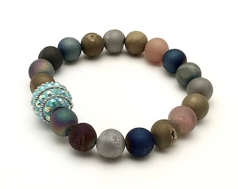 Multicolor Agate Druzy Bohochic Beaded Bracelet, Sparkle Focal for Her Under 70, US Free Shipping