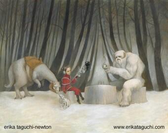 "Star Wars 8x10 Art Print, Wampa Painting, Tauntaun Art, ""Teatime with Wampa"""