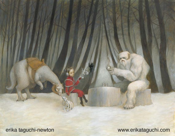 "Star Wars 8x10 Fine Art Print, Wampa Painting, Tauntaun Art, ""Teatime with Wampa"""