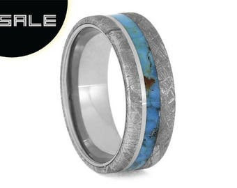 SALE - Turquoise Wedding Band, Gibeon Meteorite Ring With Titanium Sleeve And Pinstripe, Men's Meteorite Ring