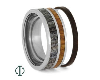 Interchangeable Deer Antler Ring, Wooden Wedding Band With Titanium Pinstripe, Titanium Ring For Men