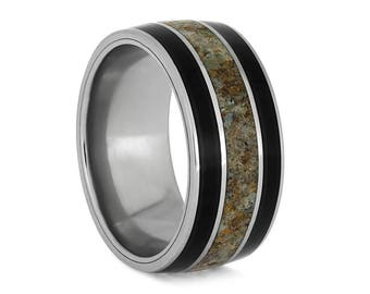 Blackwood Wedding Band With Dinosaur Bone Inlay, Exotic Wood Ring, Unique Natural Jewelry