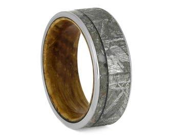 Memorial Ring With Meteorite And Whiskey Barrel Oak Sleeve, Titanium Ring, Pet Memorial Jewelry