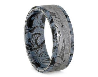 Cobaltium Mokume Wedding Band, Gibeon And Seymchan Meteorite Ring, Space Jewelry