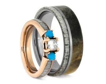 Deer Antler Wedding Ring Set, Turquoise And Diamond Engagement Ring And Wood Wedding Band