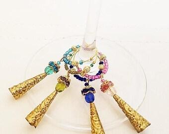Angel Wine Glass Charm Set, wine charms, wine accessories, drink charms, angel charms, barware, dangle charms, hostess gift, wine gift