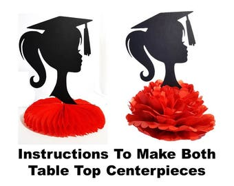 Instructions For Graduation Centerpiece Girl or Boy Silhouette DIY Tabletop Party Decoration Party Supply Instant Download Printable