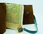 Leather travel journal with compass and map