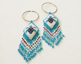 Turtle Power. Native American Beaded Hoop Earrings. Sale!