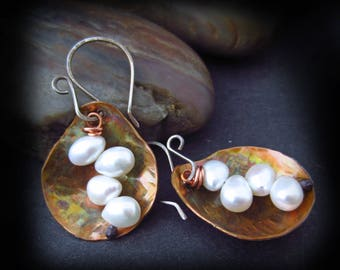 Hammered Copper Teardrops and Wire Wrapped Pearl Earrings - Flame Patina Copper Earrings - Mixed Metal Jewelry - Pearls and Copper Teardrops