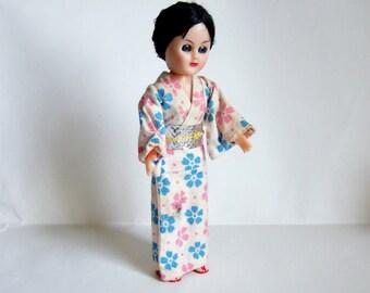 Sweet Vintage Doll in Japanese Kimono - 1950s Hard Plastic Doll in Floral Kimono