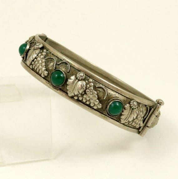 Vintage Silver Tone Bangle Bracelet with Grapes and Green Glass Stones, Hinged Bangle, Pin Clasp, Signed ALP