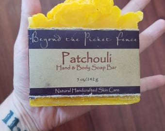 Patchouli Soap Bar  - dark patchouli - by Beyond the Picket Fence hippie - stong scented hand and body soap