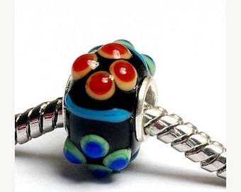 ON SALE 35% OFF Glass Lampwork Beads  - Large Hole Fiesta Bumps Rondelle Bead  - Sc10082