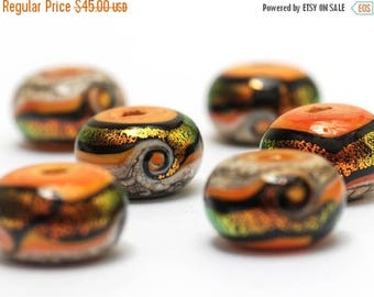 ON SALE 30% off Summer Sunset Waves Rondelle Beads - 10802021 Handmade Glass Lampwork Beads
