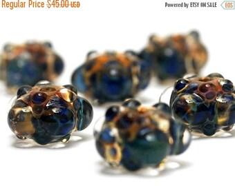 ON SALE 30% off Handmade Glass Lampwork Bead Sets - Six Blue & Orange Rondelle Beads - Bubbly Raised 10409421 -