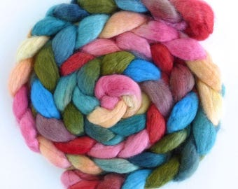 SALE: BFL Wool Roving - Hand Painted Spinning or Felting Fiber, Early Blooming