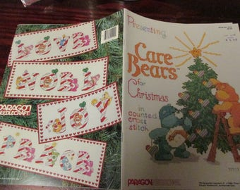 Vintage American Greetings Counted Cross Stitch Leaflet Care Bears Christmas Paragon 5110 Cross Stich Pattern