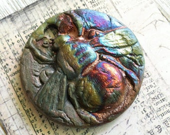 171. Wondrousstrange Raku Worker Bumble Bee Blue Green Fuchsia Copper Rust Raku Pendant