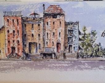 """Small street scene Watercolour watercolor 4""""x10"""" Arches rough paper"""