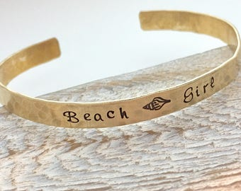 Beach Bracelet - Beach Girl Cuff Bracelet - summer jewelry - shell bracelet Graduation Gift - bracelet - hammered brass gold cuff