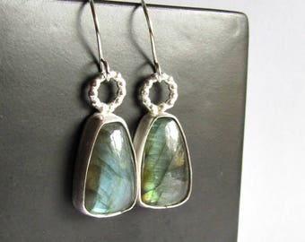 Labradorite Earrings - Modern Labradorite Jewelry - 25th Anniversary Gift - Birthday Gift