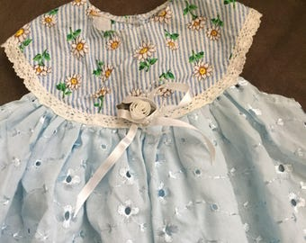 Vintage Baby Top, Cute Handmade Baby Clothes Blue Eyelet Baby Girls Vintage Blouse Sleeveless Spring Summer Baby Vintage 3m 6m Baby doll top