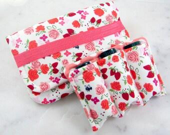 Small Essential Oil Case, Essential Oil Holder, Strawberry Flowers, Oil Zipper Bag, Essential Oil Travel Case, Roller Bottles, Zippered Case