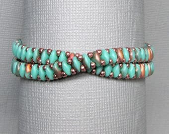 teal wrap bracelet native american jewelry green bracelet beaded wrap bracelet gift for her copper and teal