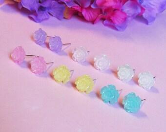 Flower Girl Earrings - Glitter pink, purple, aqua, yellow, white, ivory