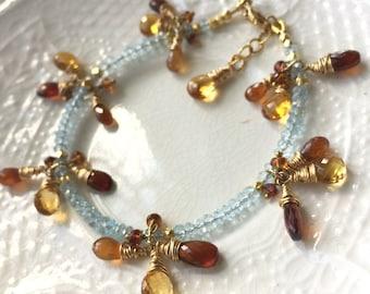 Blue Topaz Gemstone Layering Bracelet Gemstone Stack Bracelet Boho Stack Bracelet  Fire and Ice