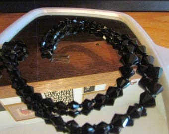 Double strand black glass morning beads