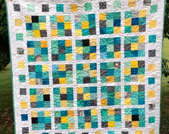 Aqua, gray, and Yellow Toddler, Large Baby Quilt, or Throw with Gray Minky Back