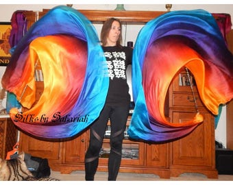 Sahariah's Silk Belly Dance Veil Killer Tornado Poi Voi Set 2 Poi Veils and Set of Poi Chains Flow Art Silks by Sahariah