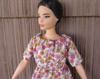 Handmade Curvy Barbie Doll Clothes, Floral Peasant Style Granny Dress Trimmed in Lace