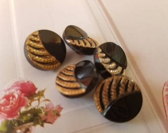 Vintage Buttons -  beautiful lot of 5 matching gold luster hand painting jet black glass, pressed design,  La Chic (aug 278 17)