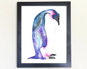 Emperor Penguin Spirit Totem Animal Art Print Watercolor