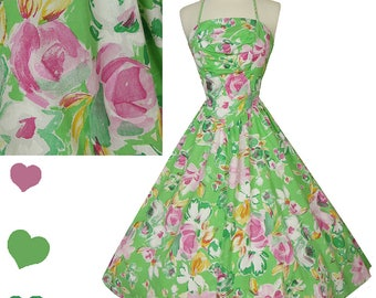 Vintage 80s Dress // 50s Style Floral FULL SKIRT Halter Dress S M Green Pink White Cotton Smocked Smocking Swing Rockabilly Pinup Prom Party