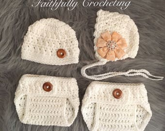 Newborn boy girl twin set... white set... diaper covers and beanies... photography prop.. ready to ship... twin prop