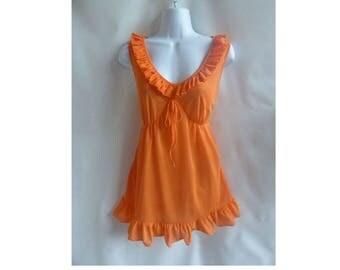 60s Vintage Nightie Size M Orange Mini Nylon Nightgown Negligee PJs Boudoir 70s