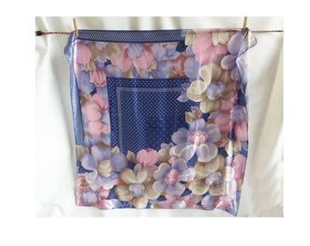 Vintage Scarf Silk Floral Polka Dot Navy Lavender taupe Mauve Shawl Wrap