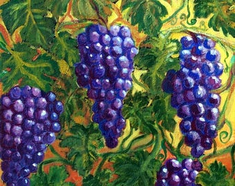 """Original Grape clusters on the Vine painting 11""""x14"""" framed 12.2 5"""" X 15.25"""" , winery,vineyard,Tuscany"""