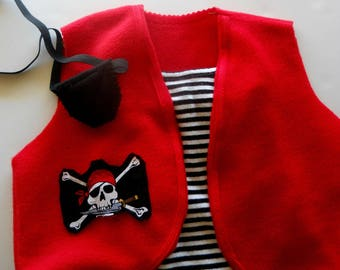 Pirate costume, Red vest with trim and decal,  Size 1 - 8
